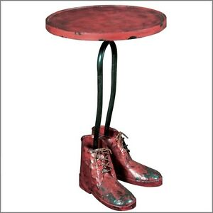 unusual side table industrial small round metal quirky pedestal