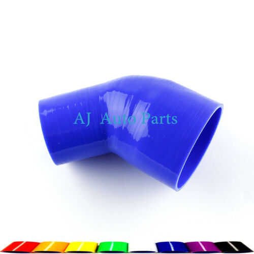 """45 Degree 2/"""" to 2.5/"""" Inch 51-64MM Silicone Hose Elbow Intercooler Couple Blue"""