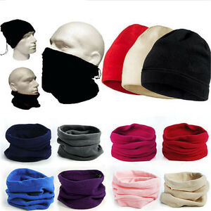 Mens-Womens-Winter-Ski-Thermal-Fleece-Neck-Warmer-Tube-Snood-Scarf-Face-Mask-Hat