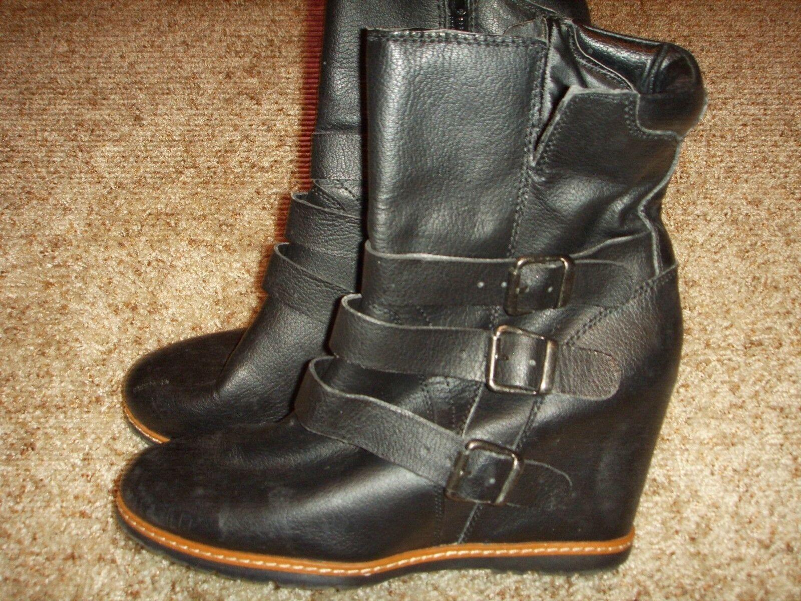 Skechers Skch +3 48527 en cuir compensées bottes Femme Taille 10