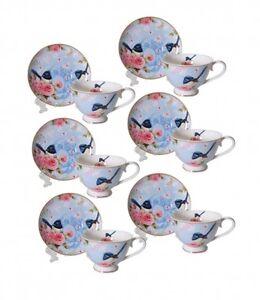 Bone-China-Blue-Wren-6-Cups-6-Saucers-Espresso-Short-Black-Cup-Saucer-Set
