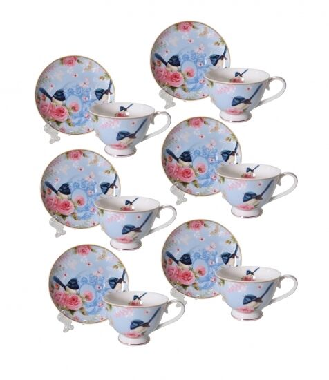 Bone China Blue Wren 6 Cups 6 Saucers Espresso Short Black Cup Saucer Set