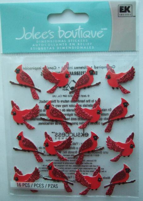 Jolee's Boutique ~CARDINALS REPEATS~ Dimensional Stickers; Backyard Nature Birds