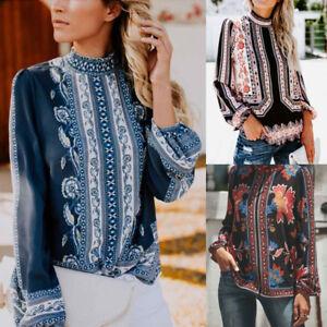 Damen-Retro-Printed-Tops-Langarm-Stand-Kragen-aushoehlen-Chiffon-Hemd-Bluse