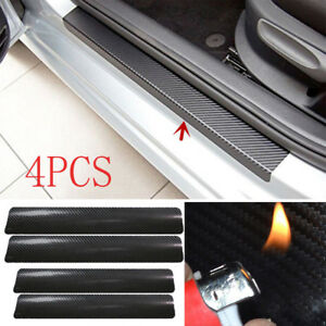 FT-4X-3D-Carbon-Fiber-Black-Car-Door-Sill-Scuff-Plate-Cover-Anti-Scratch-Sticke