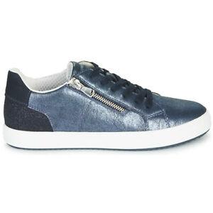 Dettagli su Scarpe Sneakers Donna GEOX Pelle laminata Blu Primavera Estate 2020