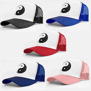 TRUCKER CAP - YIN YANG - TAI CHI - HALF MESH SNAPBACK - BASEBALL HAT ... 3d5a620a9efb