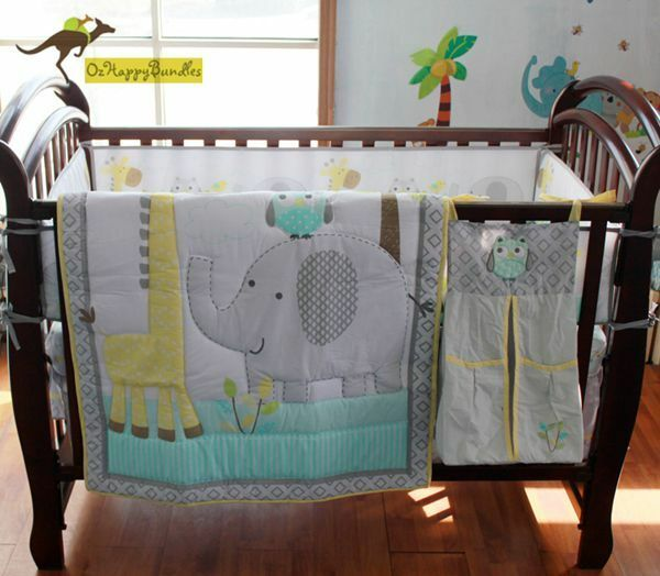 Baby Boys 9 Pieces Elephant Giraffe Theme Cotton Nursery Bedding Crib Cot Sets