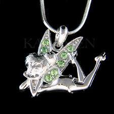 w Swarovski Crystal ~Green Tinkerbell~ Tinker Bell Fairy ANGEL Necklace Jewelry