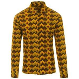 Para-Hombre-Retro-Mod-60s-70s-Op-Art-Print-Camisa-sesenta-anos-setenta-viaje-Zig-Zag-MC493