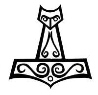 Asatru Viking Thors Hammer Vinyl Sticker Norse