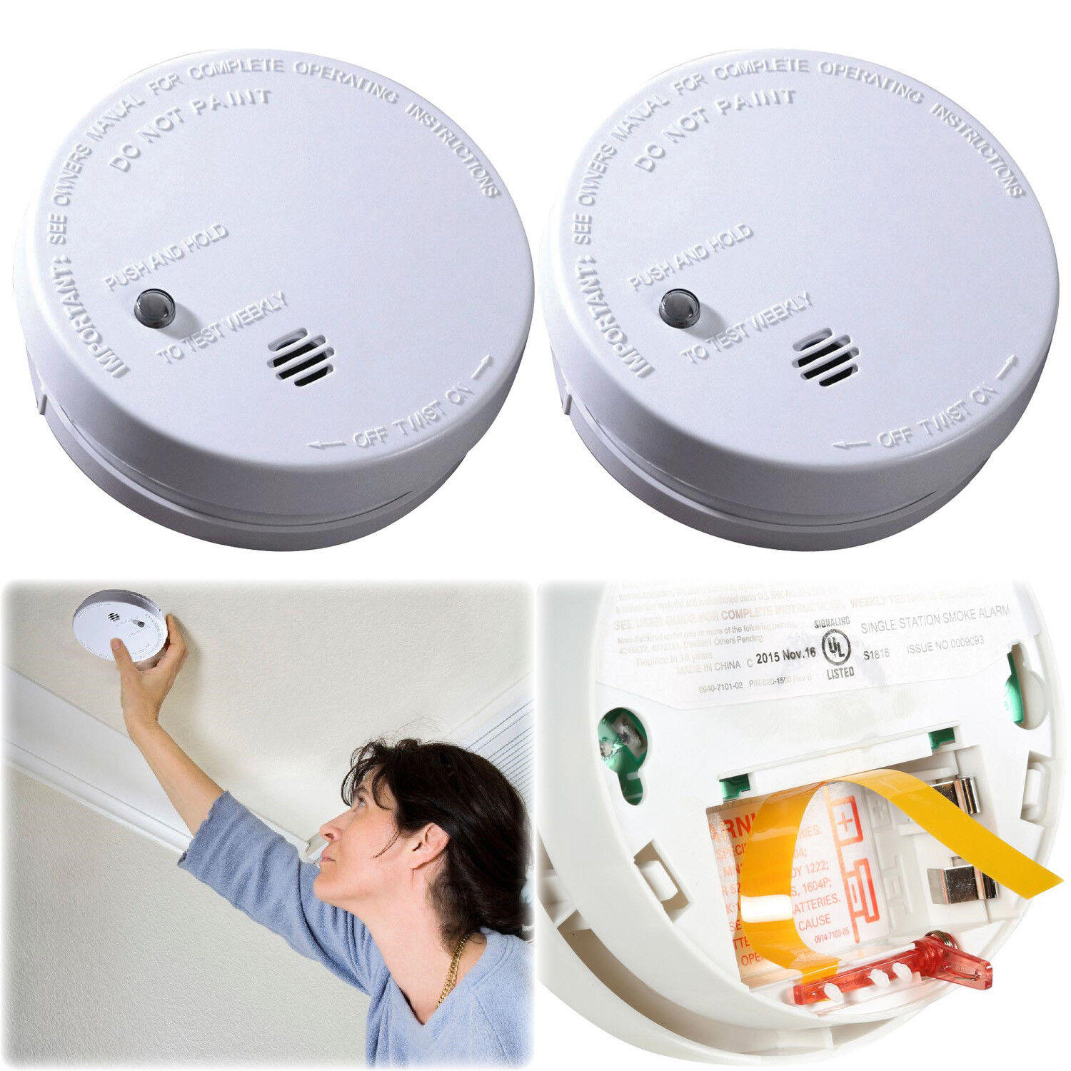2 Pack Ionization Smoke Detector Battery Operated Home Fire Alarm