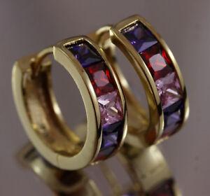 14K-14ct-Yellow-Gold-GF-Pink-Topaz-Amethyst-Garnet-Hoop-Earrings