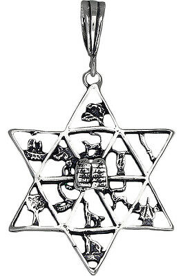 Sterling Silver Double Star of David Charm Pendant Necklace Oxidized Finish