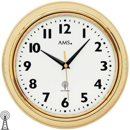AMS 5964 Horloge Radio Funkwanduhr analogique laiton couleurs Golden environ avec verre