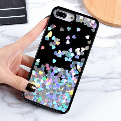 Dynamic Liquid Glitter Heart Quicksand Phone Case Cover For iPhone X 6s 7 8 Plus