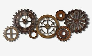industrial mechanical spare parts gears wall clock collage