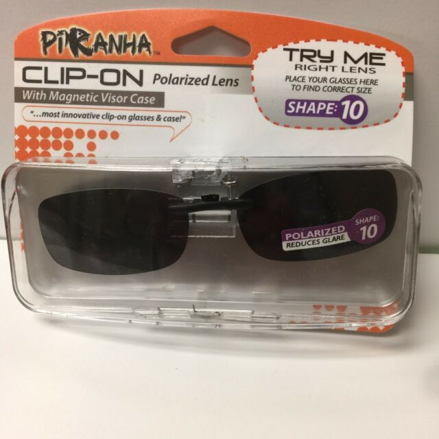 f96d52dd32694 2 Pair Piranha Polarized Clip-on Lens Sunglasses With Visor Case 100 Uva uvb