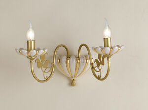 Applique via veneto avorio e oro ceramica baccellata luci