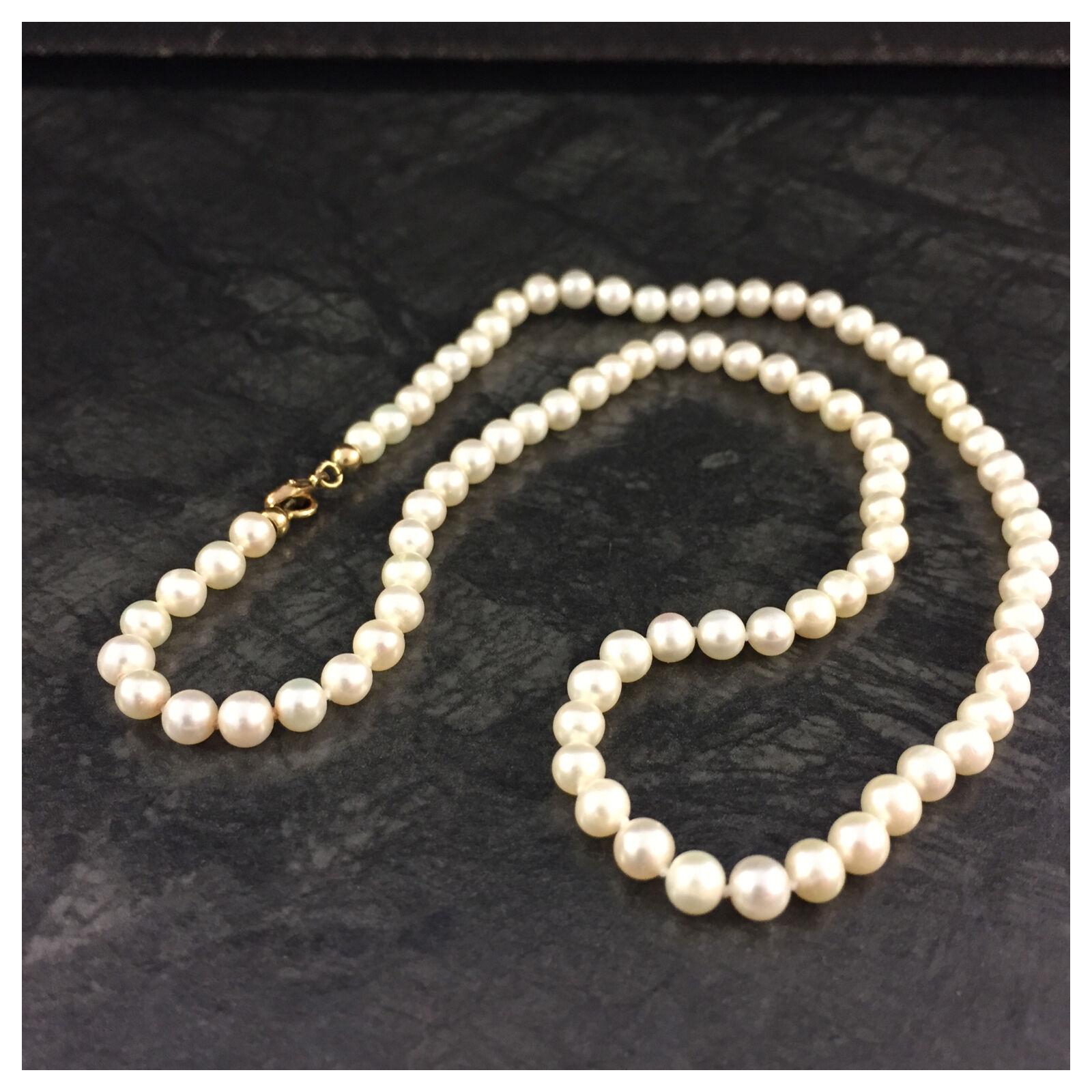 Kurze Perlenkette Collier Perlen 333er yellowgold Schließe Verschluss Karabiner