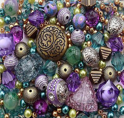 Approx x 400 Turquoise Purple Green Jewellery Making Beads Mix Starter Kit Set