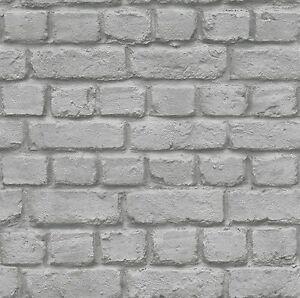 Rasch grigio effetto mattoni rivestimento parete design for Carta da parati muro mattoni