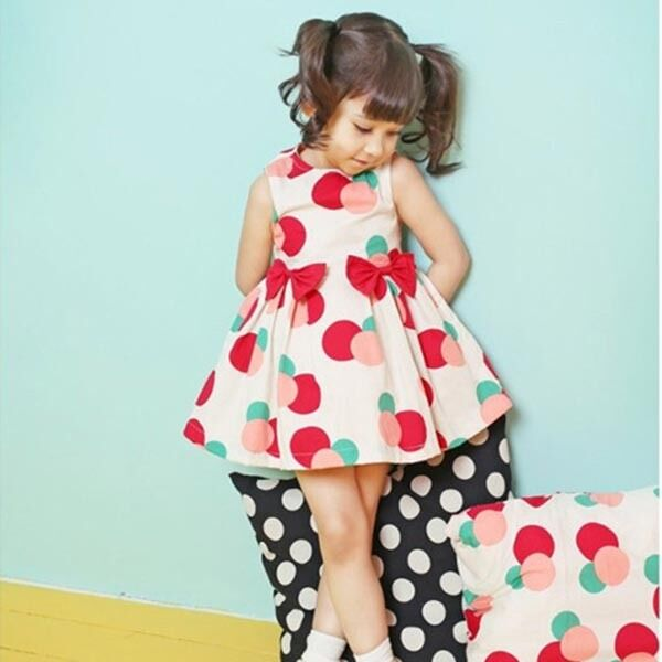 Polka Dots Dress Baby Girls One Piece Pleated Skirts Cotton Bow Clothes 2-7Y