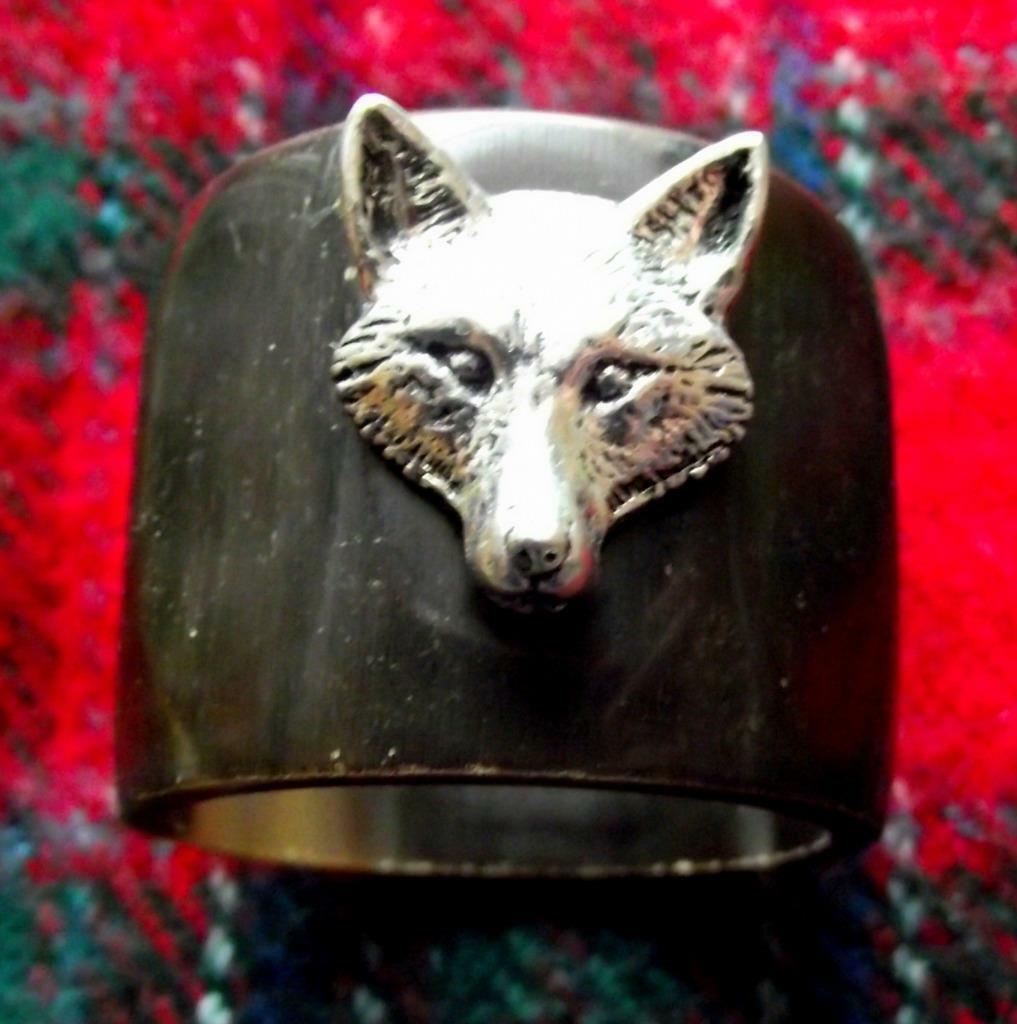 Vintage Scottish Cow Bovine Horn Tinkler Gypsy Fox Hunting Stirrup Napkin Ring A