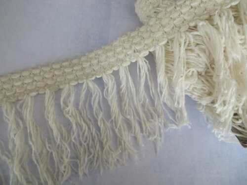 """1mt Ivory cream chenille fringe trimming 13cm 5/"""" width quick delivery from UK"""