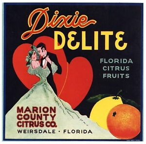 Florida Boy ORANGE CRATE LABEL FLORIDA STRIP Weirsdale 1940S ORIGINAL VINTAGE