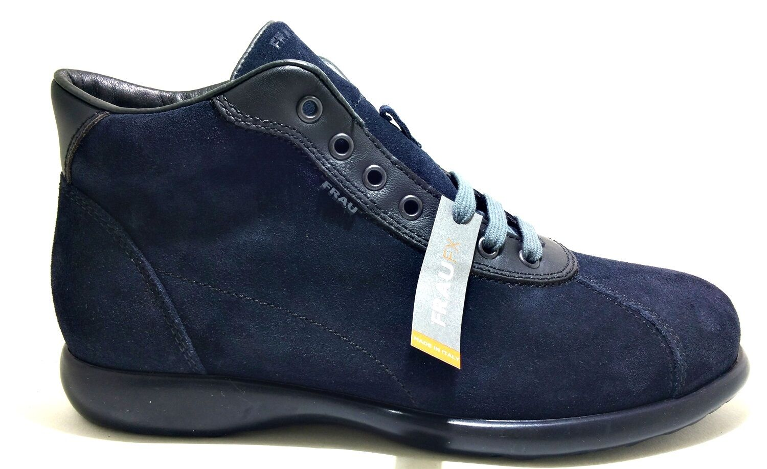 Frau 27b8 bluee shoes Velour Lace-Up Man Booties Leather Suede High Sneakers