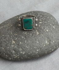 Classic Old Vintage Native American Squared Green Turquoise Silver Pinky Ring