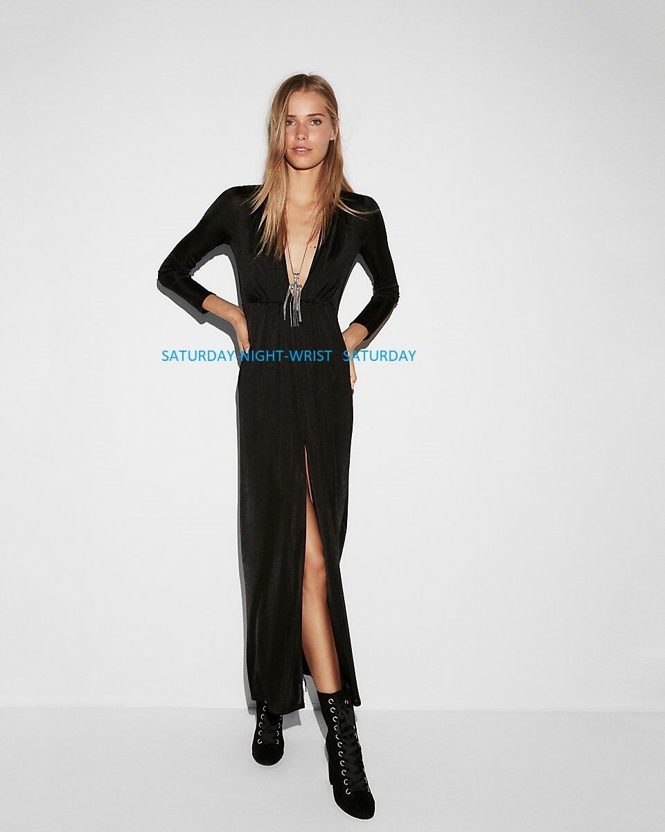NEW SOLDOUT EXPRESS who what wear sateen maxi dress s small VACATION schwarz