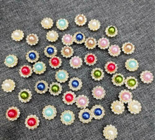 20 Pieces Alloy Faux Pearl Rhinestones Flowers for Crafts Embellishments 12 mm