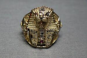 Mens Pharaoh Egyptian King Diamond Cut Ring Real Solid 10K Yellow Gold Size 10.5