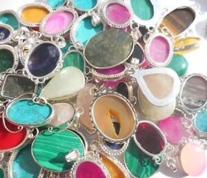 New-Wholesale-Lot-925-Silver-Plated-10Pcs-Pendant-Mix-Gemstone-Jewelry