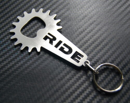 RIDE BOTTLE OPENER Bike Fixie Keyring Keychain Key Bespoke Stainless Steel Gift
