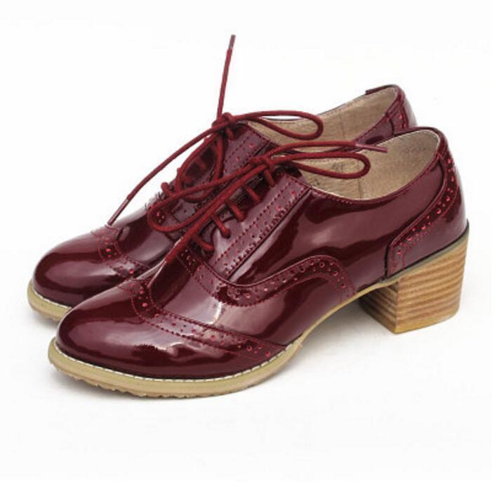 Mujer Cuero Formales Con Cordones Media Tacón Cubano Oxfords Fiesta todos zapatos  Bombas de todos Fiesta los Estados Unidos Talla 618d8c