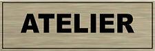 Plaque de porte aluminium brossé Signalétique de porte- ATELIER