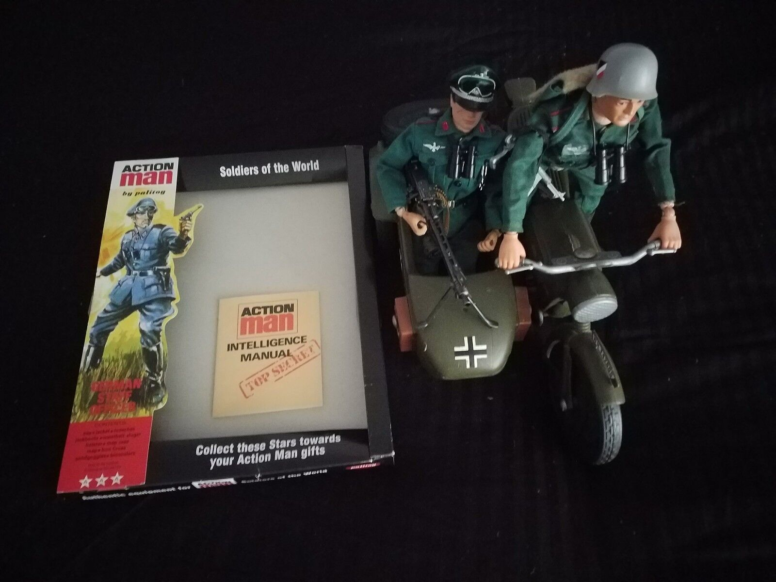 Action Man German Officer and German Stormtrooper with Motorcyle and Sidecar
