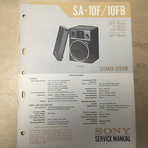 sony service manual for the sa 10f sa 10fb speaker system repair rh ebay co uk