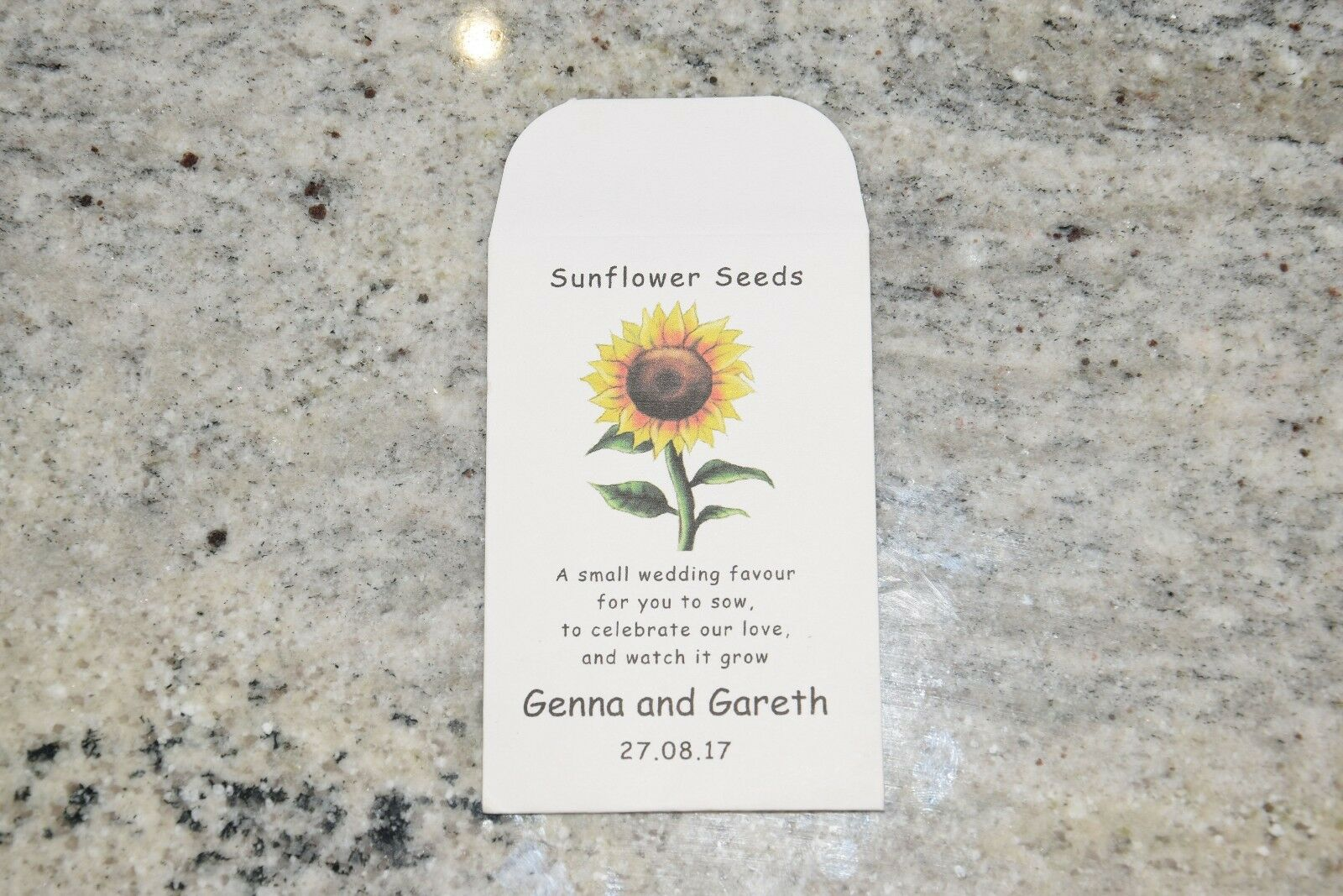 10 X Sunflower Seed Wedding Favours With Poem- Fully Personalised ...