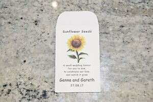 10 x Sunflower Seed Wedding Favours - fully personalised with poem ...