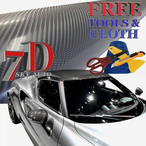 New 7D Dark Gray Shinny GLOSSY Carbon Fiber Vinyl Wrap Sheet With Air Release