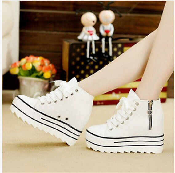 Womens Platform Lace Up Fashion Canvas High Top Sneakers Casual Sports shoes New
