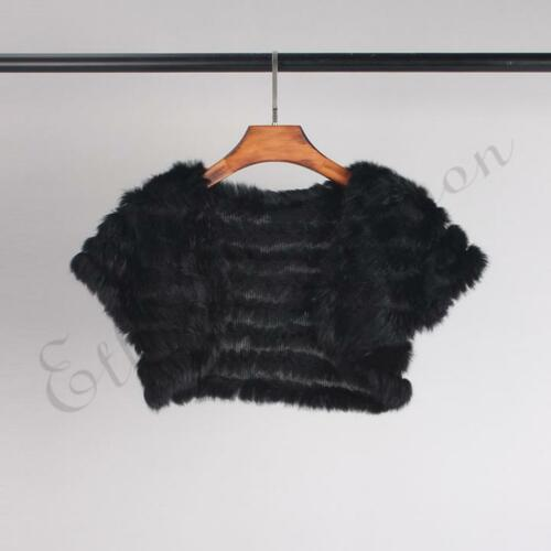 Ladies Real Knitted Rabbit Fur Vest Gilet Poncho Cape Wedding Coat Vogue Style