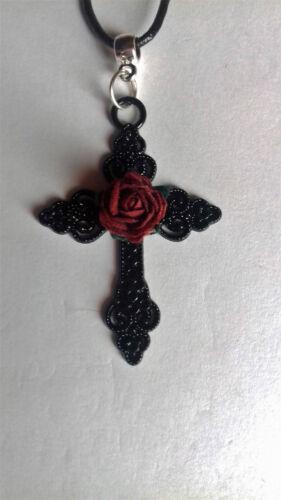 Gótico negro ajustable Encerado Cable Collar Gargantilla Gran Cruz Negra Red Rose *
