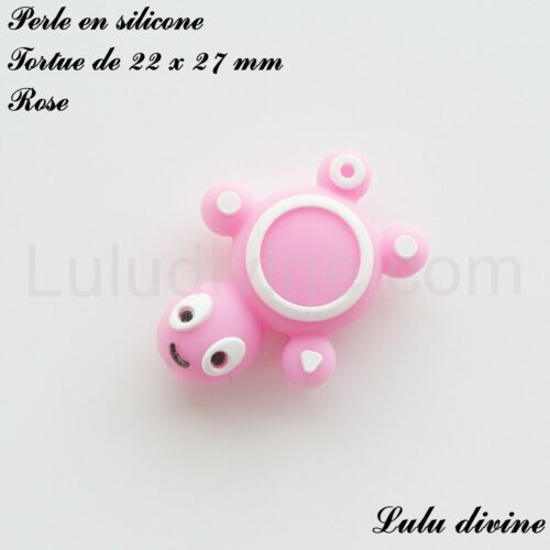 Tortue Perle en silicone Rose 22 x 27 mm
