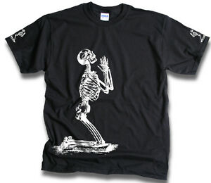 Mens-Funny-Skeleton-Prayer-T-Shirts-Sm-3XL-Goth-Bones-Biker-Skull