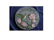 Welcome Hummingbird Rose Flower Concrete Cement Plaster Stepping Stone Mold 1088